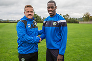 Isiaih Osbourne with Forest Green Rovers manager, Mark Cooper after signing a contract with Forest Green Rovers at Stanley Park, Chippenham, United Kingdom on 22 September 2017. Photo by Shane Healey.