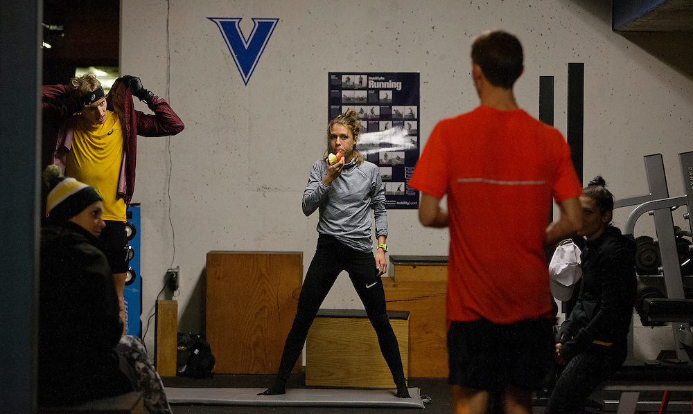 Erin Teschuck trains at the University of Victoria on December 3rd, 2015 in Victoria, British Columbia Canada.