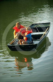 Outdoor recreation, Fishing PA Park Lake, Father and Son Catch Fish,