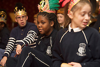 repro free: Galway Gamelan Experience at the Rowning Club where Gradivile Mayembe,  from Scoil Leanbh Iosa and her fellow students experienced the musical magic of the Gamelan- a traditional Indonesian orchestral Instrument an deere joined by  Cllr Frank Fahy Mayor of Galway City.  <br />  Photo:Andrew Downes, xposure