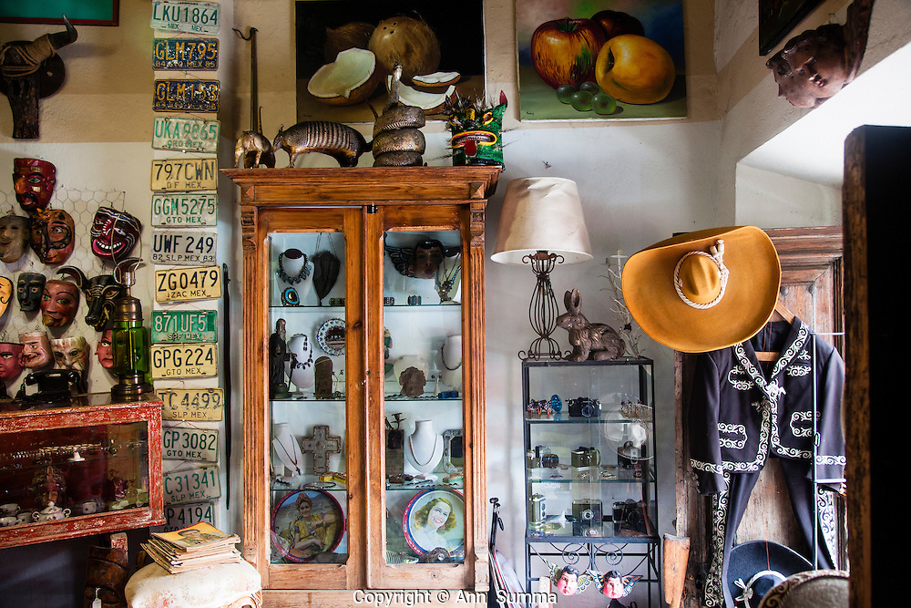 San Miguel Allende, Mexico: Unicornio sells mid-century antiques from Mexico '30s, '40s and '50s including old telephones, TV sets, furtniture and masks from all over mexico. (Photo© Ann Summa).