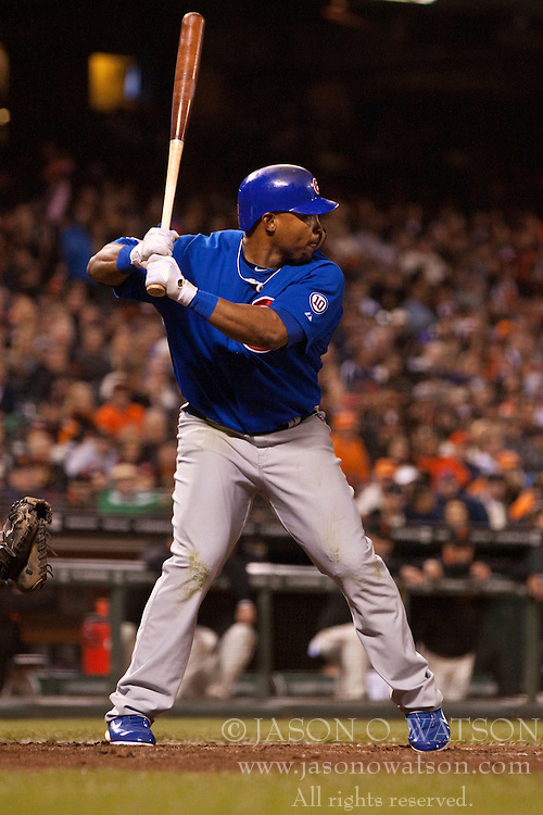 August 29, 2011; San Francisco, CA, USA;  Chicago Cubs center fielder Marlon Byrd (24) at bat against the San Francisco Giants during the sixth inning at AT&T Park. Chicago defeated San Francisco 7-0.