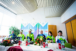 Press Conference during Arrival of Zan Kosir, Bronze medalist at Olympic Games in Pyeongchang 2018, on February 26, 2018 in Aerodrom Ljubljana, Letalisce Jozeta Pucnika, Kranj, Slovenia. Photo by Ziga Zupan / Sportida