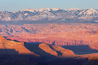 View of the La Sal Mountains at sunset from Canyonlands National Park Utah