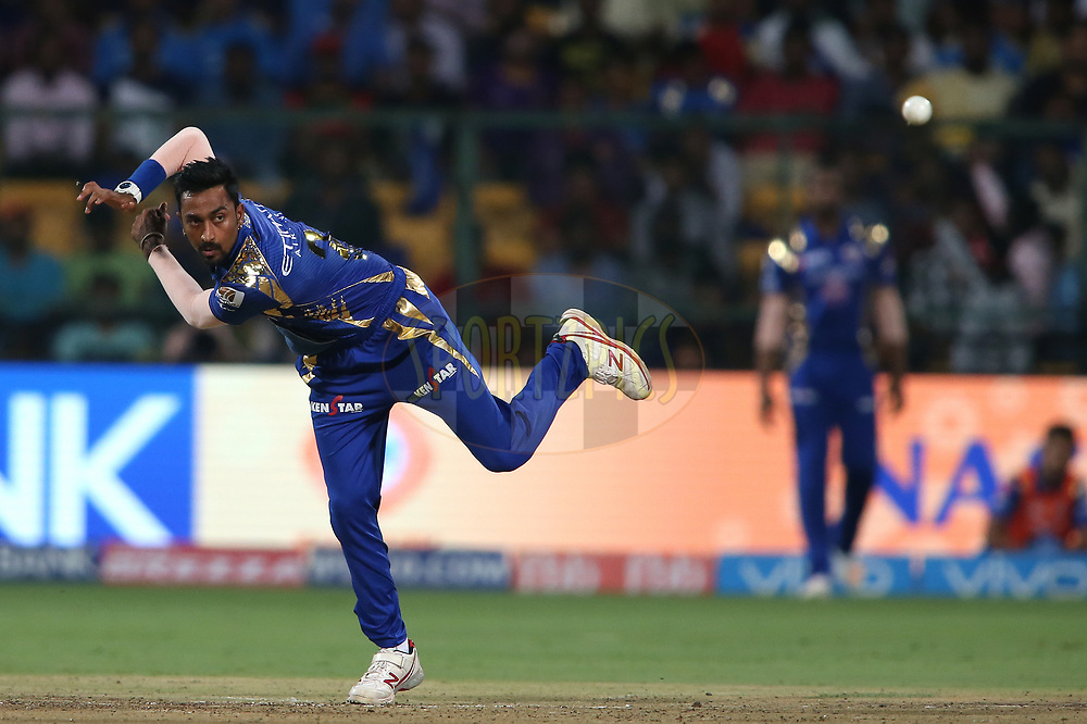 Krunal Pandya of the Mumbai Indians sends down a delivery  during the 2nd qualifier match of the Vivo 2017 Indian Premier League between the Mumbai Indians and the Kolkata Knight Riders held at the M.Chinnaswamy Stadium in Bangalore, India on the 19th May 2017<br /> <br /> Photo by Shaun Roy - Sportzpics - IPL