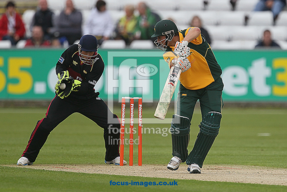 Picture by Mark Fletcher/Focus Images Ltd. 0775 2571576.17/06/12..Phil Mustard of Durham Dynamos stumps Alex Hales of Nottinghamshire Outlaws off the bowling of Scott Borthwick during the FL t20 match at Emirates Durham ICG, Chester-le-Street, County Durham.