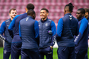 James Tavernier (#2) of Rangers FC chats with his team mates on the pitch before the Ladbrokes Scottish Premiership match between Heart of Midlothian and Rangers FC at Tynecastle Park, Edinburgh, Scotland on 20 October 2019.
