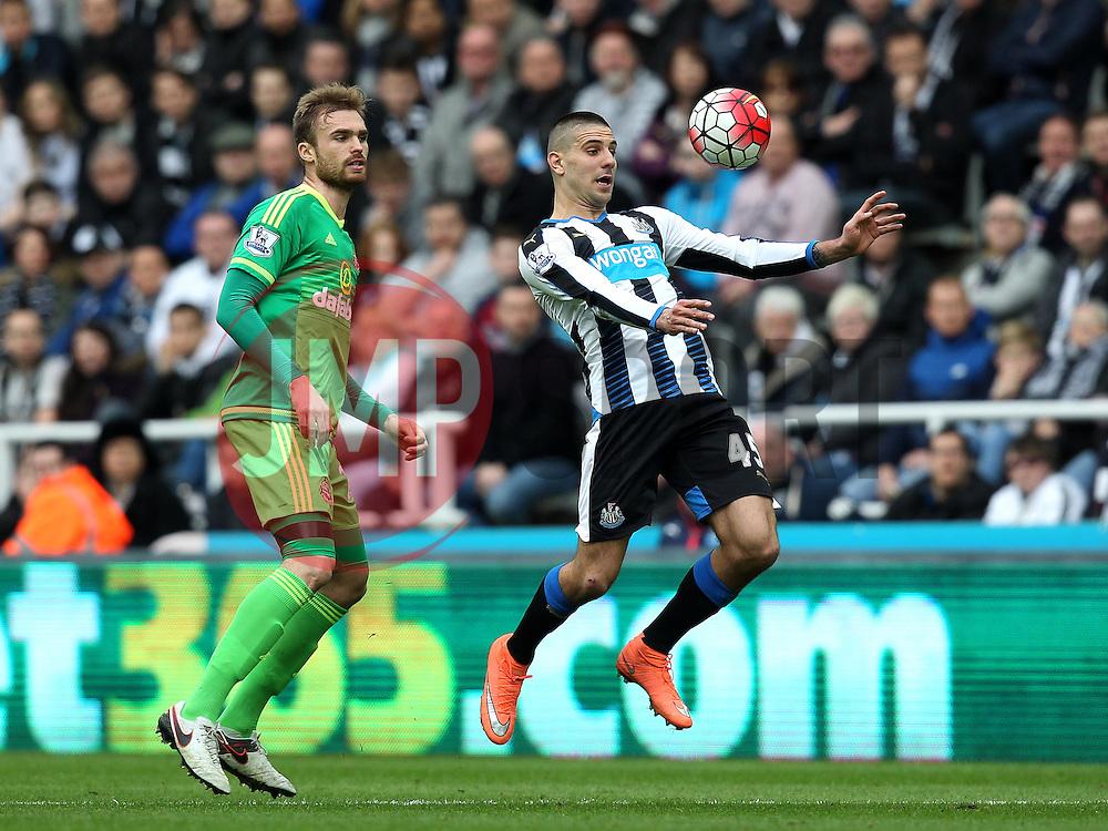 Aleksandar Mitrovic of Newcastle United controls the ball - Mandatory byline: Robbie Stephenson/JMP - 20/03/2016 - FOOTBALL - ST James Park - Newcastle, England - Newcastle United v Sunderland - Barclays Premier League