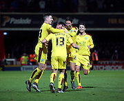 Burnley midfielder Joey Barton celebrating scoring from a free kick during the Sky Bet Championship match between Brentford and Burnley at Griffin Park, London, England on 15 January 2016. Photo by Matthew Redman.