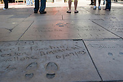 USA, Los Angeles California Hollywood Hand and foot prints in cement,