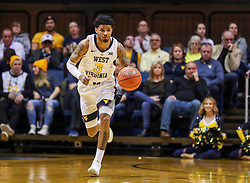 Dec 30, 2018; Morgantown, WV, USA; West Virginia Mountaineers guard James Bolden (3) dribbles the ball during the second half against the Lehigh Mountain Hawks at WVU Coliseum. Mandatory Credit: Ben Queen-USA TODAY Sports