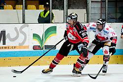 28.09.2013, Zimni Stadion, Zneim, CZE, EBEL, HC Orli Znojmo vs HC TWK Innsbruck, 12. Runde, im Bild Richard Jarusek (Znojmo #96) Mario Huber (Innsbruck #76) // during the Erste Bank Icehockey League 12th round match betweeen HC Orli Znojmo and HC TWK Innsbruck  at the Zimni Stadium, Znojmo, Czech Republic on 2013/09/28. EXPA Pictures © 2013, PhotoCredit: EXPA/ Rostislav Pfeffer