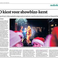 Tekst en beeld zijn auteursrechtelijk beschermd en het is dan ook verboden zonder toestemming van auteur, fotograaf en/of uitgever iets hiervan te publiceren <br /> <br /> Trouw 23 december 2013: grote EO-Kerstshow op de Dam in Amsterdam
