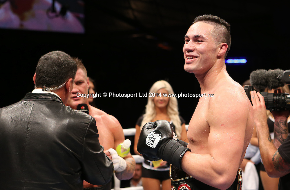 Joseph Parker of NZ  wins his fight against Brian Minto of USA during the Hydr8 Zero Heavyweight Explosion - Joseph Parker v Brian Minto at The Vodafone Events Centre, Manukau, Auckland. Saturday, July 5, 2014. Photo: Fiona Goodall/photosport.co.nz