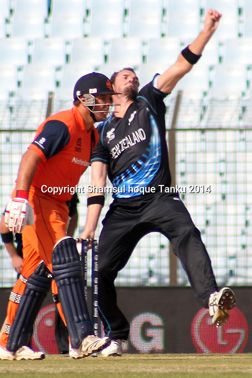 Kyle Mills bowling - New Zealand Black Caps v Netherlands, Zahur Ahmed Chowdhury Stadium, Chittagong, Bangladesh. ICC World Twenty20 cricket Bangaldesh 2014. 29 March 2014. Photo: Shamsul hoque Tanku/www.photosport.co.nz