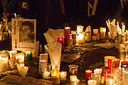 After a march in favor of the 43 Ayotzinapa's missing students, people placed candles in the Zocalo plaza in Mexico City