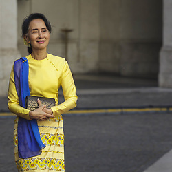 May 4, 2017 - Rome, Italy - Prime Minister Paolo Gentiloni (not pictured) meets Burmese State Counsellor and Foreign Minister Aung San Suu Kyi at Chigi Palace in Rome, Italy. (Credit Image: © Giuseppe Ciccia/Pacific Press via ZUMA Wire)