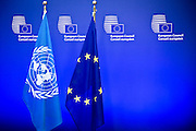 The Secretary-General of the United Nations Ban Ki Moon visits the EU Council and is welcomed by its President, Donald Tusk. They meet to talk about the migration problem in the Mediterranean and see how Europe could do more to help.