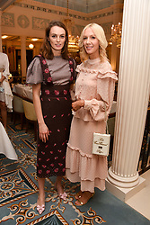 Left to right, Lady Violet Manners and Megan Hess at an afternoon tea in honour of Megan Hess hosted by Lady Violet Manners at The Lanesborough, Hyde Park Corner, London, England. 10 November 2017.