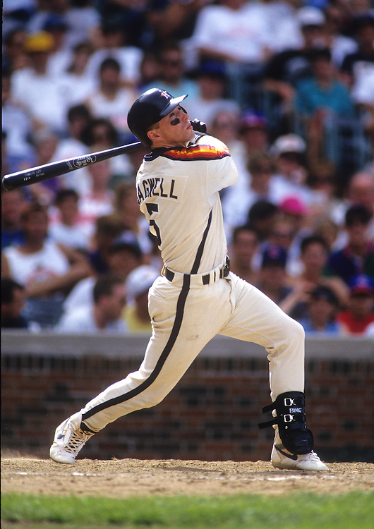 CHICAGO - UNDATED:  Jeff Bagwell of the Houston Astros bats during an MLB game versus the Chicago Cubs at Wrigley Field in Chicago, Illinois.  Bagwell played for the Astros from 1991-2005.  (Photo by Ron Vesely)  Subject:  Jeff Bagwell