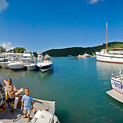 Boats moored in Cruz Bay, St. John, US Virgin Islands, USA. High resolution panorama.