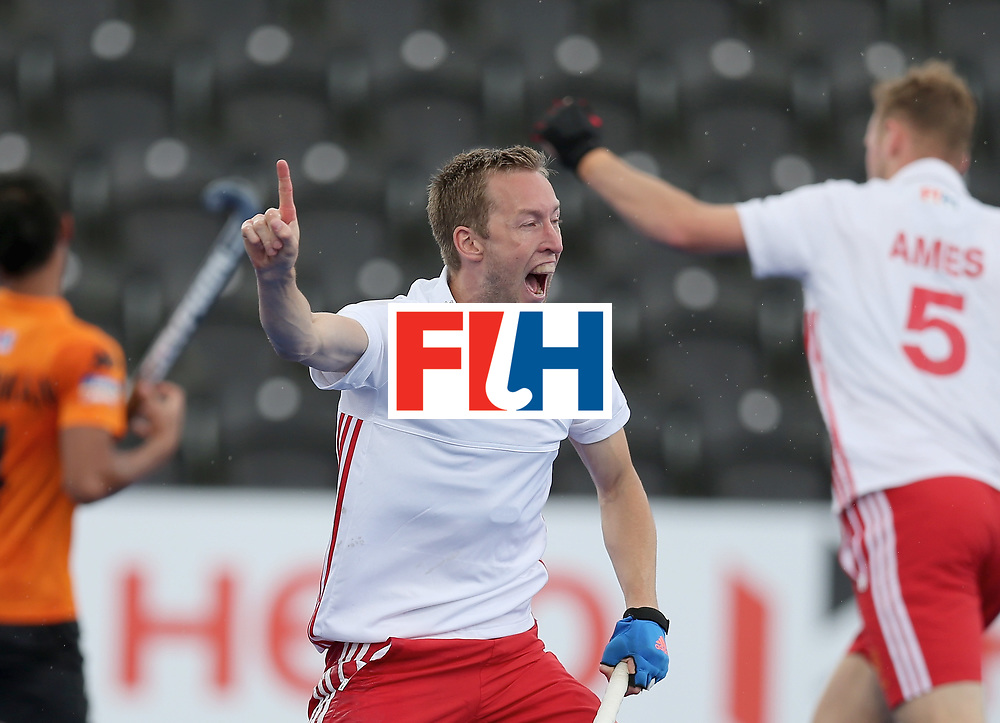 LONDON, ENGLAND - JUNE 25: Barry Middleton of England celebrates Englands second goal during the 3rd/4th place match between Malaysia and England on day nine of the Hero Hockey World League Semi-Final at Lee Valley Hockey and Tennis Centre on June 25, 2017 in London, England. (Photo by Alex Morton/Getty Images)