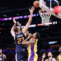 05 December 2016: Utah Jazz center Rudy Gobert (27) goes for the layup against Los Angeles Lakers forward Thomas Robinson (15) during the Utah Jazz 107-101 victory over the Los Angeles Lakers, at the Staples Center, Los Angeles, California, USA.