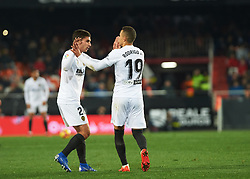 January 26, 2019 - Valencia, Valencia, Spain - Ferran Torres and Rodrigo Moreno of Valencia CF celebrates a goal during the La Liga Santander match between Valencia and Villarreal at Mestalla Stadium on Jenuary 26, 2019 in Valencia, Spain. (Credit Image: © Maria Jose Segovia/NurPhoto via ZUMA Press)