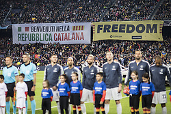 October 24, 2018 - Barcelona, Catalonia, Spain - Catalan independence symbols and flags pro Independence of Catalonia and freedom for political prisoners and welcoming the italian team to the Repubblica Catalana during the UEFA Champions League match between FC Barcelona v FC Internazionale Milano at Camp Nou Stadium, in Barcelona on 24 of October, 2018. (Credit Image: © Xavier Bonilla/NurPhoto via ZUMA Press)