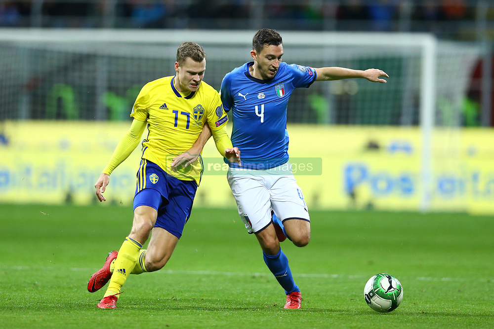 November 13, 2017 - Milan, Italy - FIFA World Cup Qualifiers play-off Switzerland v Northern Ireland.Viktor Claesson of Sweden and Matteo Darmian of Italy at San Siro Stadium in Milan, Italy on November 13, 2017..Photo Matteo Ciambelli / NurPhoto  (Credit Image: © Matteo Ciambelli/NurPhoto via ZUMA Press)