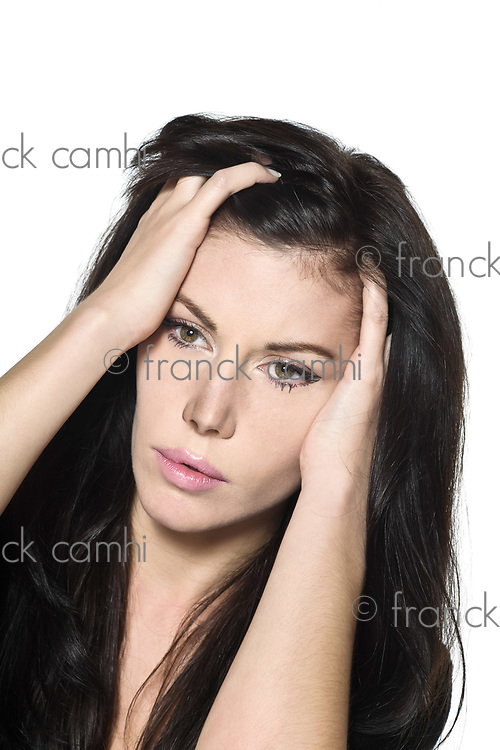 woman beautiful portrait on studio isolated white background pensive thinking sad despair depression