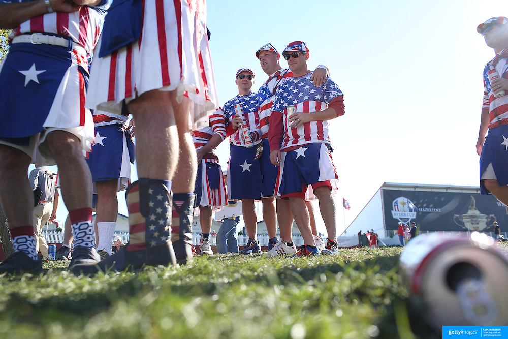Ryder Cup 2016. Day One. Spectators during the Ryder Cup competition at the Hazeltine National Golf Club on September 30, 2016 in Chaska, Minnesota.  (Photo by Tim Clayton/Corbis via Getty Images)