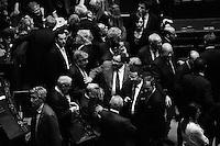 """ROMA, ITALIA - 20 APRILE 2013: a Roma, Italy, il 20 aprile 2013.<br /> <br /> I deputati del Partito Democratico (PD) escono dal Teatro Capranica dopo l'assemblea del partito a seguito del risultato del quarto scrutinio dell'elezione del Presidente della Repubblica.<br /> <br /> Pier Luigi Bersani si è dimesso. """"Uno su quattro ha tradito, è inaccettabile"""", ha detto ufficializzando la decisione davanti all'assemblea dei grandi elettori Pd, poche ore dopo la quarta fumata nera a Montecitorio per l'elezione del presidente della Repubblica. Con il secondo candidato del centrosinistra bruciato dalle divisioni interne alla coalizione.<br /> <br /> Le elezioni del presidente della Repubblica sono iniziate il 18 aprile 2013. Nelle prime 3 votazioni sono necessari 672 voti per eleggere il Presidente della Repubblica, ossia i due terzi dei 1007 componenti (630 deputati, 319 senatori e 58 rappresentanti delle regioni). Dalla quarta votazione in poi, sarà invece necessaria la maggioranza assoluta dell'assemblea, ossia 504 voti."""