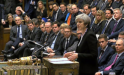 Prime Minister Theresa May speaking to MPs in the House of Commons in the aftermath of yesterday's terror attack on the Palace of Westminster.