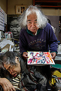 Kawasaki, November 21 2014 - Poetrait of Japanese artist Tatsumi ORIMOTO at his place.