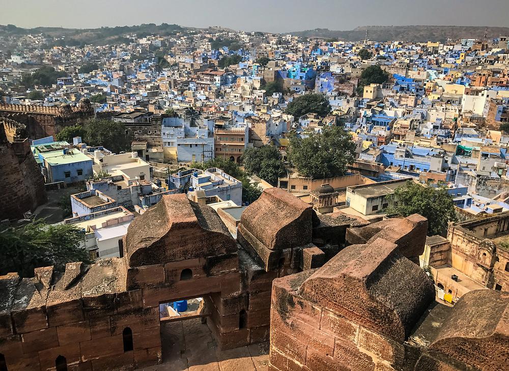JODHPUR, INDIA - CIRCA NOVEMBER 2016:  Panoramic view of Jodhpur from the Mehrangarh Fort