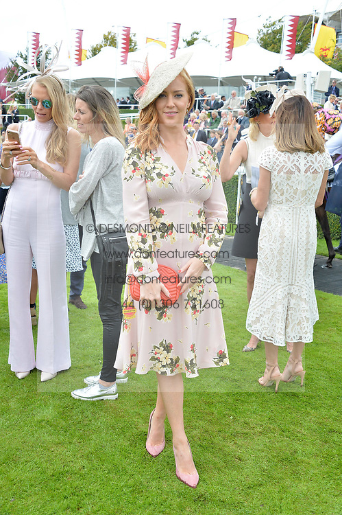 Sarah-Jane Mee at the Qatar Goodwood Festival, Goodwood, West Sussex England. 3 August 2017.<br /> Photo by Dominic O'Neill/SilverHub 0203 174 1069 sales@silverhubmedia.com