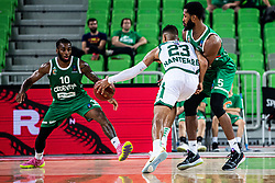 Mikael Hopkins of KK Cedevita Olimpija and Devin Oliver of Nanterre 92 during EuroCup basketball match between teams KK Cedevita Olimpija and Nanterre 92 in Round 4, Arena Stozice, 23. October, Ljubljana, Slovenia. Photo by Grega Valancic / Sportida