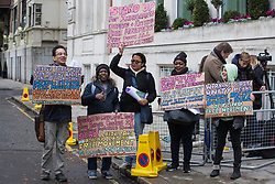 London, UK. 16 November, 2019. Freedom of movement activists from Movement for Justice stand outside Labour's Clause V meeting. Credit: Mark Kerrison/Alamy Live News