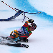 Winter Olympics, Vancouver, 2010.Andrea Jardi, Spain, crashes out of the second run in the Alpine Skiing Ladies' Giant Slalom at Whistler Creekside, Whistler, during the Vancouver Winter Olympics. 24th February 2010. Photo Tim Clayton