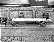03/12/1952<br /> 12/03/1952<br /> 12 December 1952<br /> View of horse and trailer at Dublin Port. Image for Maurice L. Clifford Solicitors for accident case.