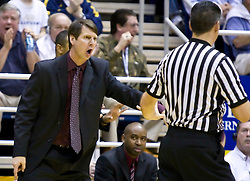 February 13, 2010; Berkeley, CA, USA;  Washington State Cougars head coach Ken Bone receives a technical foul for arguing a call during the second half against the California Golden Bears at the Haas Pavilion.  California defeated Washington State 86-70.