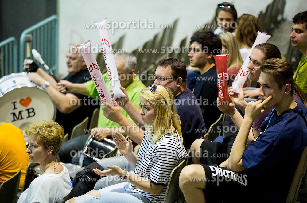 Fans of Slovenia during volleyball match between National Teams of Slovenia and France in 3rd Round of 2015 CEV Volleyball European Championship Women Qualifications, on May 29, 2015 in Arena Tabor, Maribor, Slovenia. Photo by Vid Ponikvar / Sportida