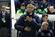 Brighton Manager, Chris Hughton during the EFL Sky Bet Championship match between Brighton and Hove Albion and Newcastle United at the American Express Community Stadium, Brighton and Hove, England on 28 February 2017.
