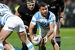 Argentina's Martin Landajo prepares to pass the ball from the ruck against  New Zealand in the Investic Rugby Championship Test match at Yarrow Stadium, New Plymouth, New Zealand, Saturday, September 09, 2017. Credit:SNPA / Dean Pemberton  **NO ARCHIVING**