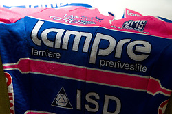 Jersey of Lampre at press conference before cycling race Tour de France 2011, on June 27, 2011, in Restavracija in Kavarna Element, Crnuce, Ljubljana, Slovenia. (Photo by Vid Ponikvar / Sportida)