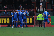 Billy Bicknell celebrates his goal during the FA Trophy match between Cheltenham Town and Chelmsford City at Whaddon Road, Cheltenham, England on 12 December 2015. Photo by Antony Thompson.