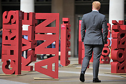 © Licensed to London News Pictures. 04/09/2017. London, UK.  104 three dimensional names have been installed in Paternoster Square near St. Paul's cathedral to mark the launch of the 'Make Blood Cancer Visible' campaign.  Designed by Paul Cocksedge, the typographic forest of names represents the 104 individuals diagnosed with blood cancer daily.  Each piece symbolises an individual with blood cancer, the height corresponds to the height of that individual and bears a write-up of their particular type of blood cancer.  Photo credit : Stephen Chung/LNP