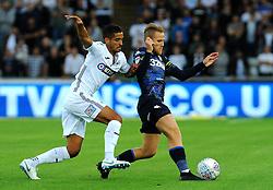 Kyle Naughton of Swansea City applies pressure on Samu Saiz of Leeds United Mandatory by-line: Nizaam Jones/JMP- 21/08/2018 - FOOTBALL - Liberty Stadium - Swansea, Wales - Swansea City v Leeds United - Sky Bet Championship