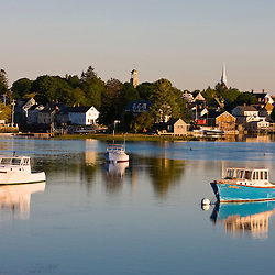 Lobster boat moored in the Piscataqua River in the South End in Portsmouth, New Hampshire.